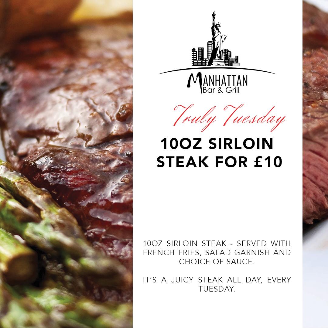 Manhattan bar and grill sirloin steak offer