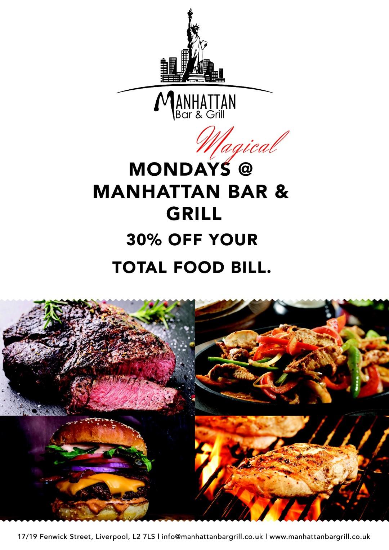Manhattan bar and grill monday deals