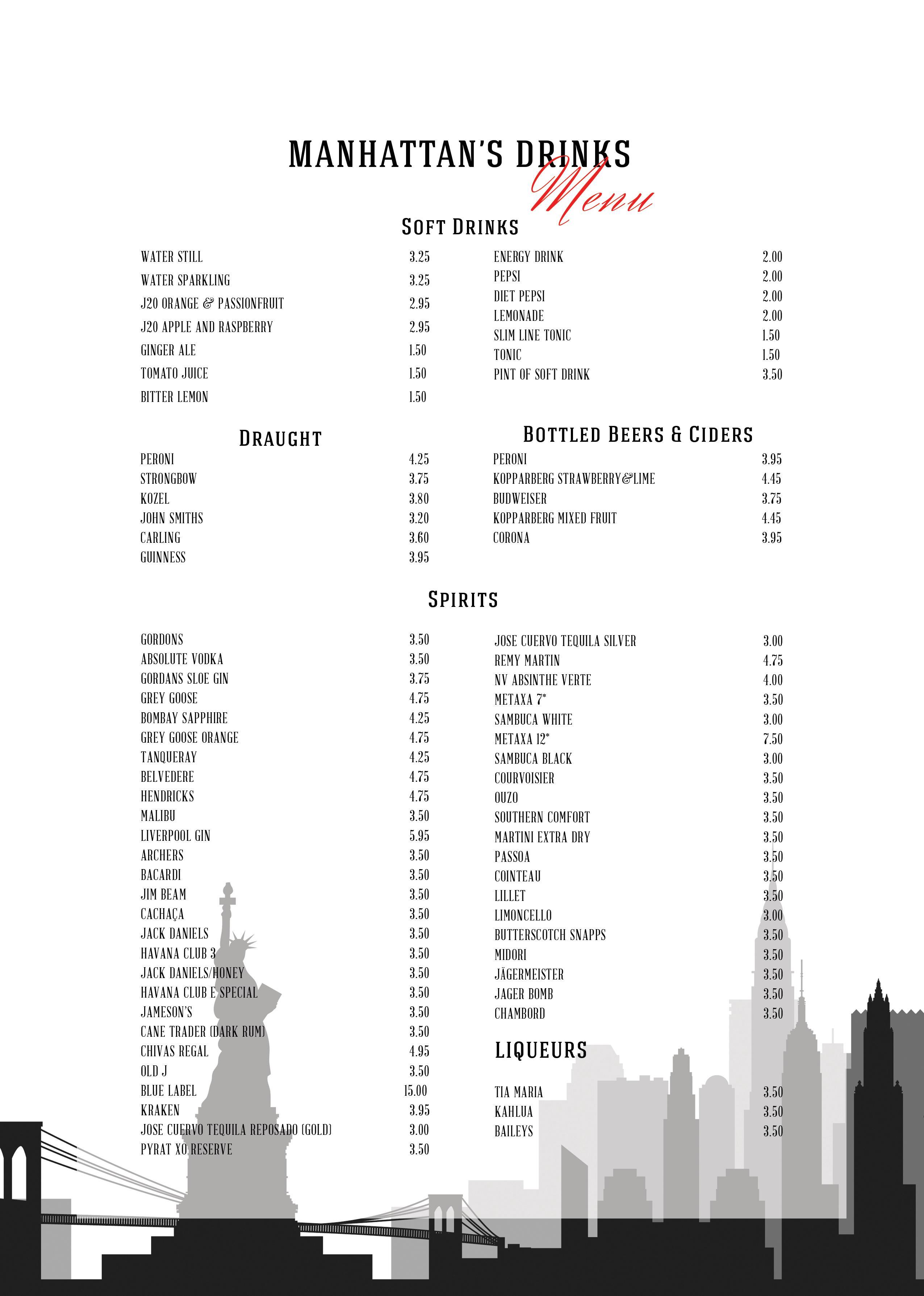 Manhattan Bar and Grill Drinks List