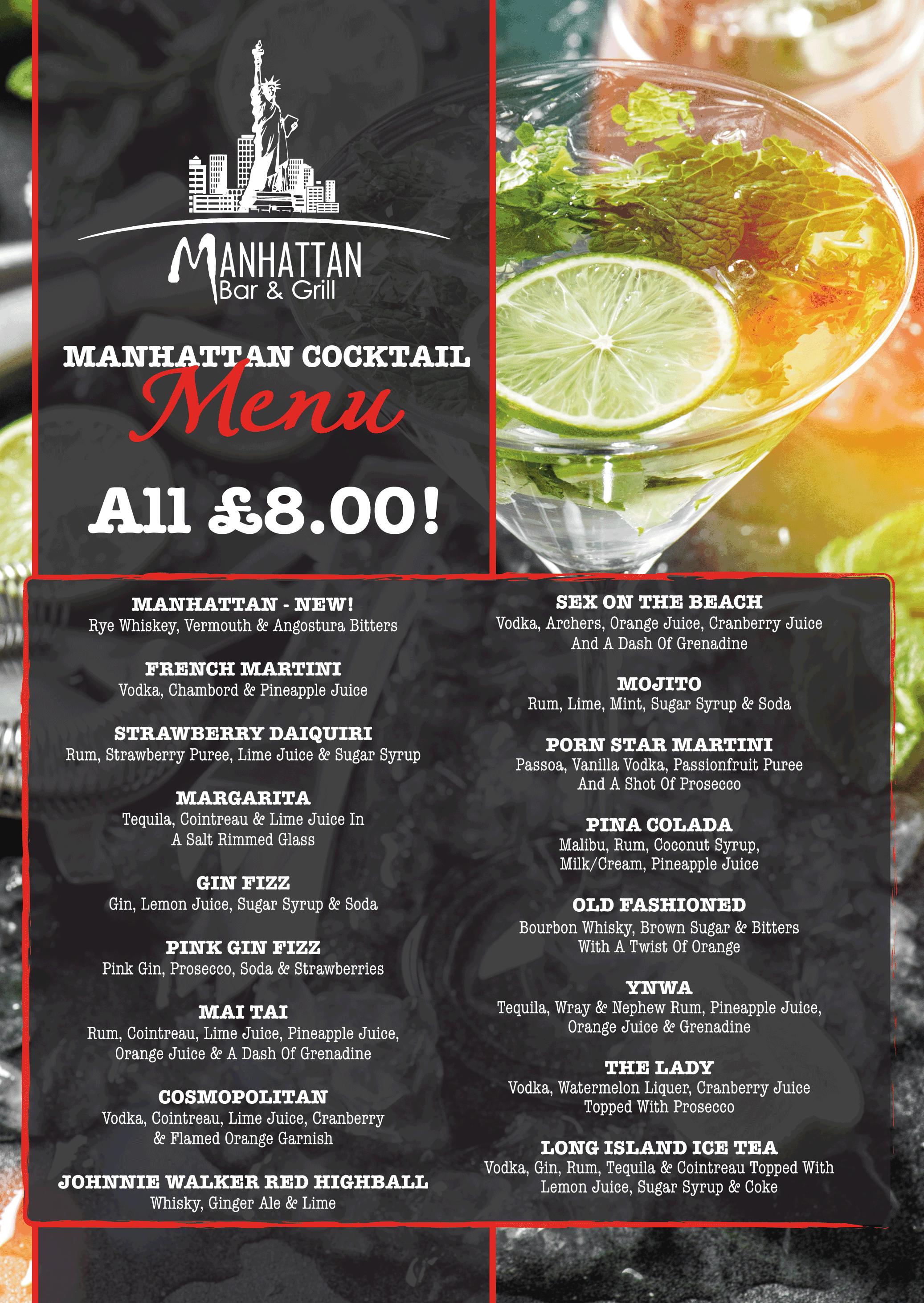 Manhattan Cocktail Menu